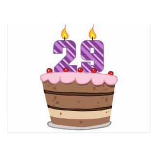 Alter 29 auf Geburtstags-Kuchen Postkarte