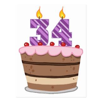 Alter 34 auf Geburtstags-Kuchen Postkarte