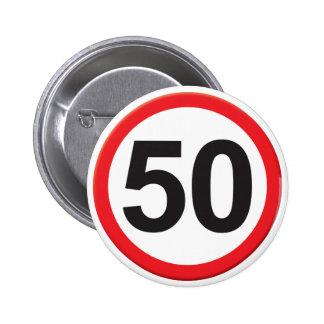 Alter 50 runder button 5,7 cm