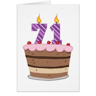 Alter 71 auf Geburtstags-Kuchen Karte