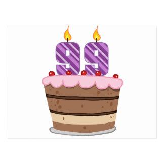 Alter 99 auf Geburtstags-Kuchen Postkarte