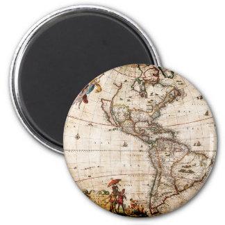 Alter antiker Norden u. Südamerika-Karte Runder Magnet 5,1 Cm