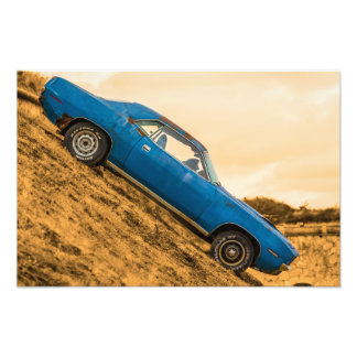 Alter blauer Plymouth-Barracuda Fotodrucke