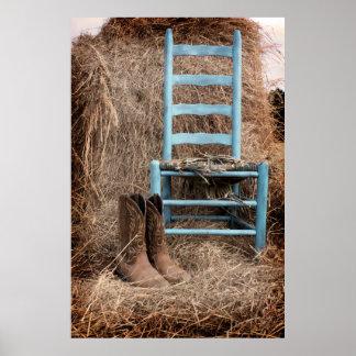 Alter blauer Stuhl Poster