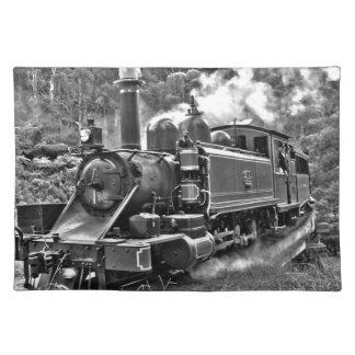 Alter Dampf-Motor-Zug Schwarzweiss Stofftischset
