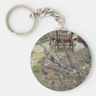 Alter Eisenpflug und andere landwirtschaftliche Schlüsselanhänger