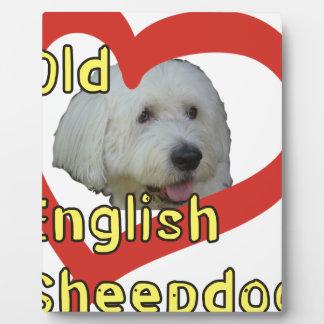 Alter englischer Schäferhund Fotoplatte