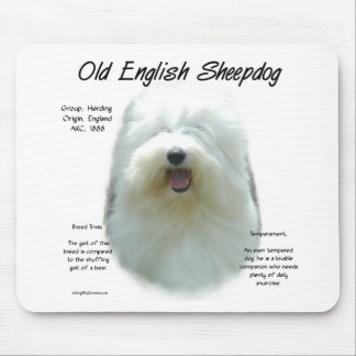 Alter englischer Schäferhund-Geschichtsentwurf Mousepad