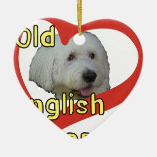 Alter englischer Schäferhund Keramik Herz-Ornament