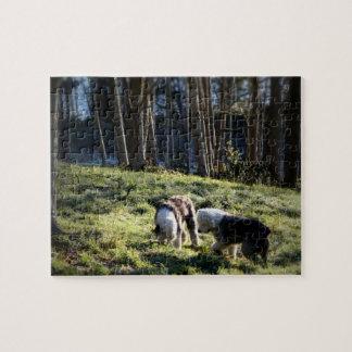 Alter englischer Schäferhund-Märchen-Wald Puzzle