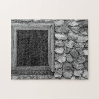 Alter Felsen-Wand-FensterGrayscale Puzzle