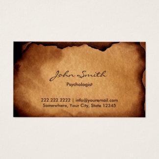 Alter gebrannter Papierpsychologe Visitenkarte