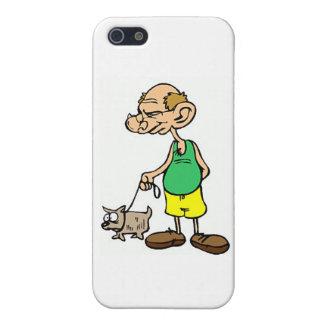 Alter gehender Mann der Hund Hülle Fürs iPhone 5