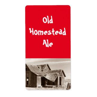 Alter Gehöft-Alesepia-Zuhausebrauen Bier-Aufkleber Großer Adressaufkleber