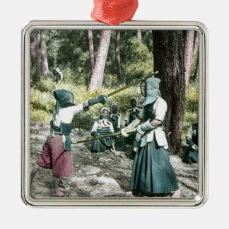 Alter Japaner Kendo Kriegskunst Vintages Japan Silbernes Ornament