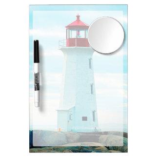 Alter Leuchtturm, blauer Ozean, See, nautisch Trockenlöschtafel Mit Spiegel