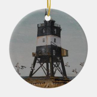 Alter Leuchtturm Voslap Rundes Keramik Ornament