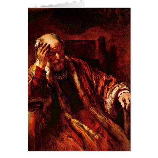 Alter Mann im Lehnsessel durch Rembrandt Van Rijn Grußkarte