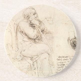 Alter Mann-und Wasser-Skizze durch Leonardo da Untersetzer