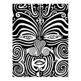 Alter Maori- Moko Stammes- Tätowierungsentwurf Postkarte