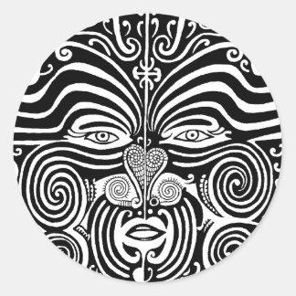 Alter Maori- Moko Stammes- Tätowierungsentwurf Runder Aufkleber