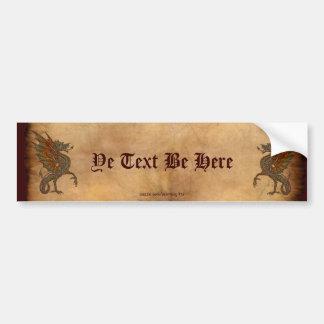 Alter mittelalterlicher Drache-Entwurf YE Auto Sticker