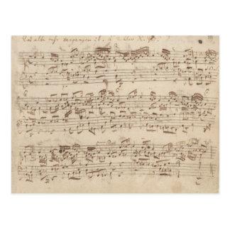 Alter Musiknoten - Bach Musik-Blatt Postkarte
