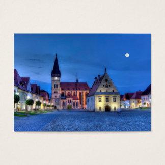 Alter Rathausplatz in Bardejov, Slowakei, HDR Visitenkarte