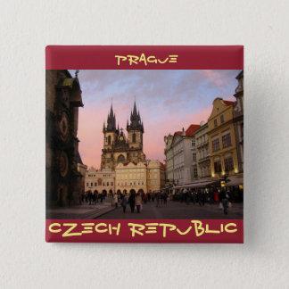 Alter Rathausplatz - Prag, Tschechische Republik Quadratischer Button 5,1 Cm