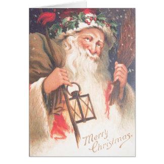 Alter Sankt Nikolaus mit der Laterne Vintag Karte