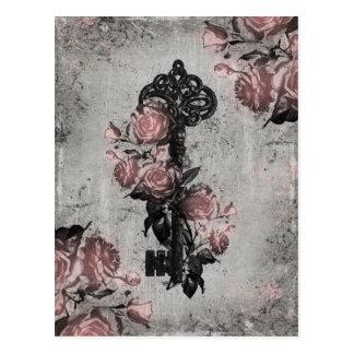 Alter Schlüssel und Rosen Postkarte