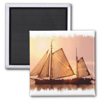 Alter Segelschiff-Magnet Quadratischer Magnet