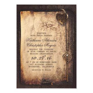 Alter Skeleton Schlüssel-Vintage und gotische 12,7 X 17,8 Cm Einladungskarte