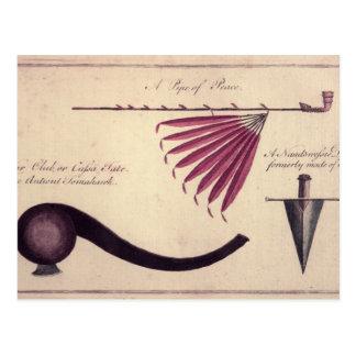 Alter Tomahawk, Friedenspfeife und Dolch, c.1590 Postkarte