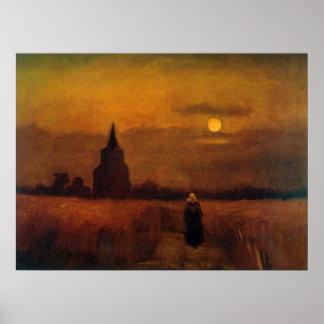 Alter Turm Van Gogh auf den Gebieten, Vintage Poster