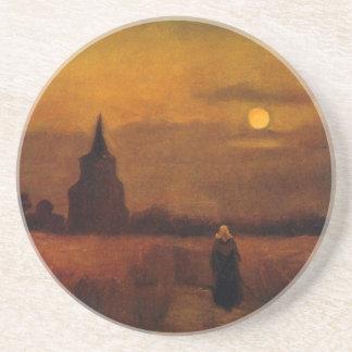 Alter Turm Van Gogh auf den Gebieten, Vintage Untersetzer