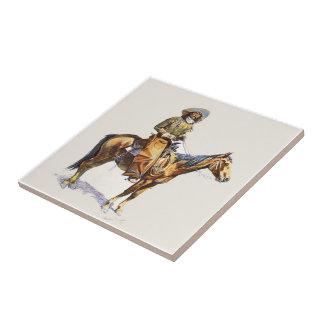 Alter Western-Cowboy auf Pferd Keramikfliese