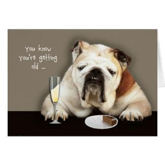 ältere, lustige Geburtstagskarte, Hund erhalten Grußkarte