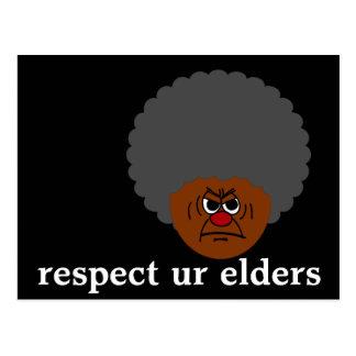 Älterer Bürger-strenge Warnung: Respektieren Sie Postkarte