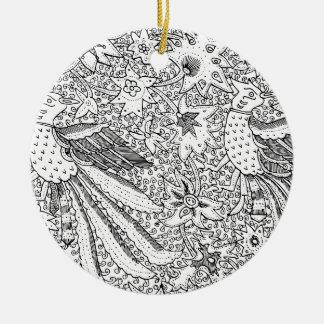 Altes abstraktes Textilnatur-Muster Rundes Keramik Ornament