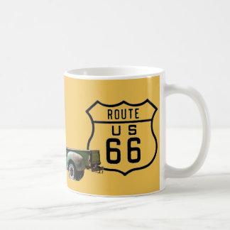 Altes amerikanisches LKW-Gold des Weg-66 Kaffeetasse
