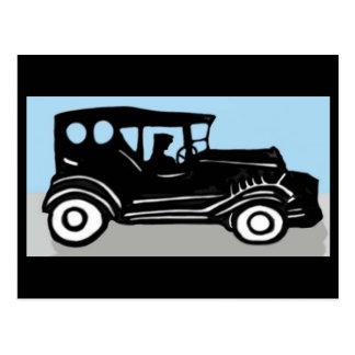 Altes Auto und Fahrer Postkarte
