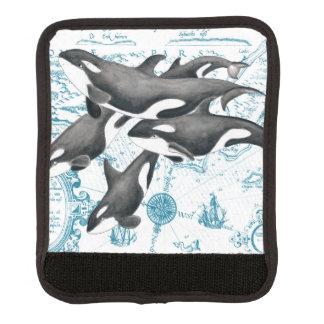 Altes Blau der Schwertwalwal-Familie Gepäck Markierung