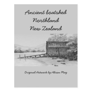 Altes boatshed, Northland, Neuseeland Postkarte