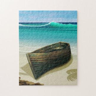 Altes Boot durch Seetropisches Strand-Puzzlespiel Puzzle