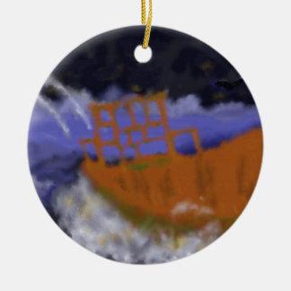 Altes Boot in der Sturm-Kunst Rundes Keramik Ornament