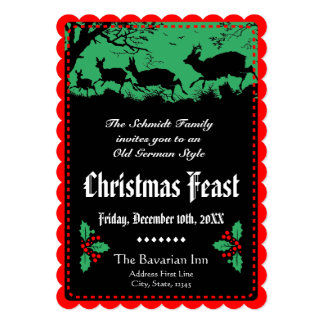 Altes deutsches Art-WeihnachtsParty oder -bankett 12,7 X 17,8 Cm Einladungskarte