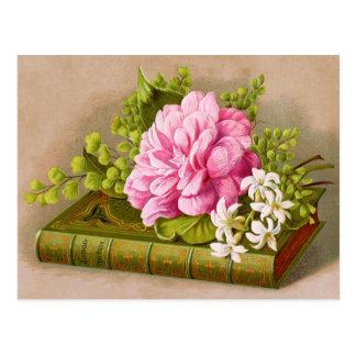 Altes Geburtstags-Buch mit rosa Blumen Postkarte