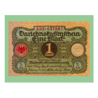 Altes Geld: 1 Deutsche Mark Postkarte
