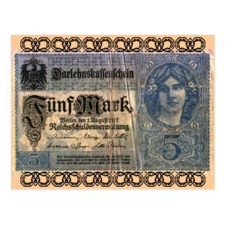 Altes Geld: 5 Deutsche Mark Postkarte